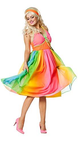 Karneval-Klamotten 70er Jahre Damen-Kostüm Hippie Kostüm-e Damen Kostüm Regenbogen Disco-Kleid Größe 34