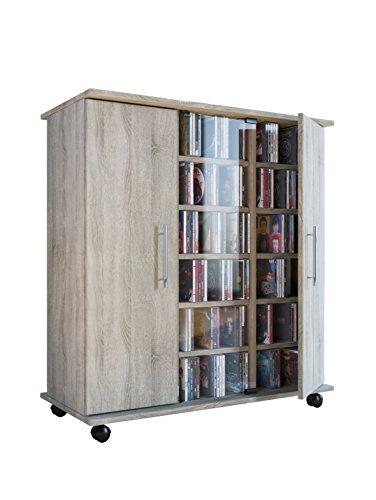 VCM Regal DVD CD Rack Sideboard Medienregal Medienschrank Aufbewahrung Standregal Mobil Möbel Sonoma-Eiche