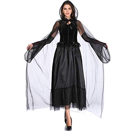 GWNJSSX Halloween Kapuzen Robe Frauen Kostüm,böse Hexe Kostüm Kleid Party Cosplay Mit Kleid Und Mantel