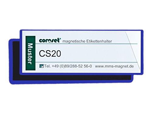 Magnetische Etikettenhalter / Etikettenträger / Etikettenhüllen / Einstecktaschen für Papieretiketten, blau (100 St., 137 x 58 mm)
