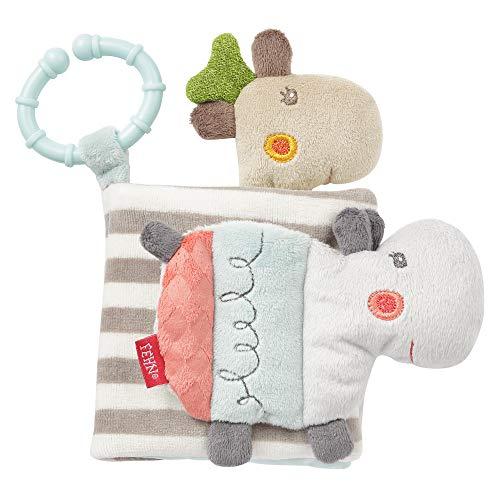 FEHN 059045 Loopy & Lotta - Libro de tela (6 páginas con emocionantes colores y funciones para sentir, agarrar y asombrar, un compañero perfecto para casa y viajes para bebés y niños pequeños)