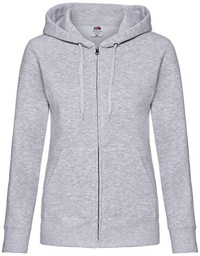 Premium Hooded Sweatjacke Lady-Fit - Farbe: Heather Grey - Größe: XS -