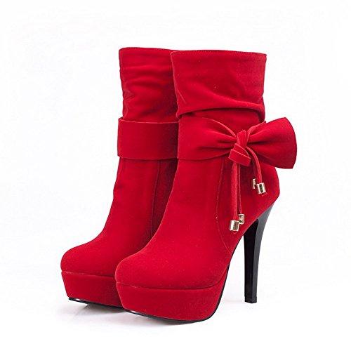 VogueZone009 Donna Tirare Tacco Alto Pelle Di Mucca Bassa Altezza Stivali con Cappio Rosso