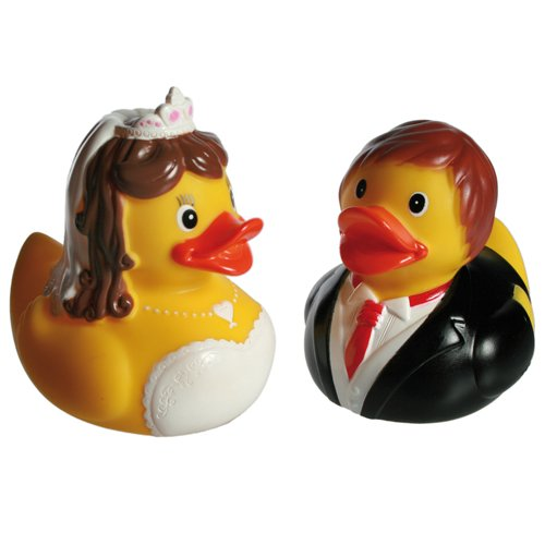 BRIDE GROOM SQUEAKING RUBBER DUCKS WEDDING GIFT SET FUN BATHROOM BATH DUCK