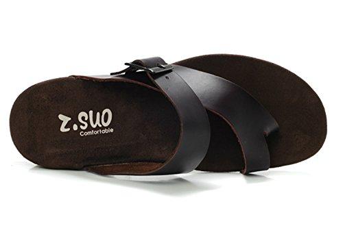dqq hommes de mode sangle String en Cuir Sandales Noir - noir
