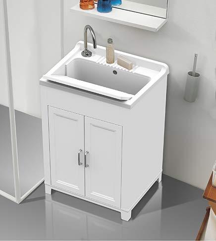 Mobile lavatoio.60x50x85 kit 2 antevasca e asse lavapanniresina bianco