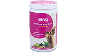 OZiva Nutritional Meal Shake, Women, High Protein Meal Replacement Shake with Ayurvedic Herbs (Chocolate,17 Servings)