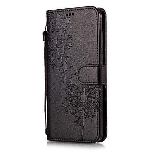 Beddouuk Huawei Honor 9 Hülle,Retro Floral Muster Design PU Leder Ständer Flip Cover mit Karte Halter Brieftasche Wallet Bookstyle Folio Ledertasche Handyhülle-B-Schwarz