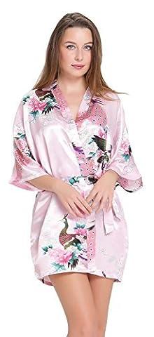 Aibrou Kimono Robe de Chambre Chemise de Nuit Femme Fleurs Paon sous vêtements (X-Large, Rose)