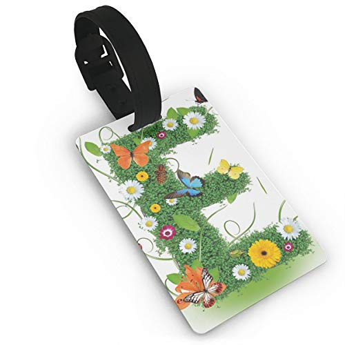 Lovely Travel Secure Luggage Tags for suitcases, E Symbol Nature Elements Wild Pasture Flowers Daisies Butterflies Colorful,Handbag Tag Labels ID (Daisy Pet-id-tag)