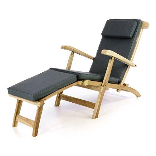 Divero Liege - Stuhl Deckchair Florentine Steamer Chair mit Auflage Natur anthrazit,