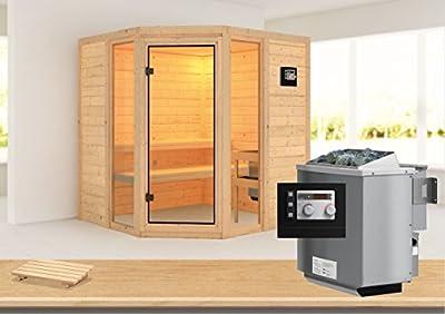 Sinai 2 - Karibu Sauna inkl. 9-kW-Bioofen - ohne Dachkranz - von Woodfeeling GmbH auf Du und dein Garten