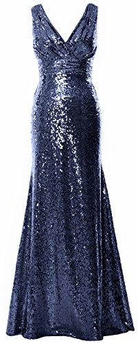 MACloth - Robe de mariage - Trapèze - Sans Manche - Femme Bleu Marine