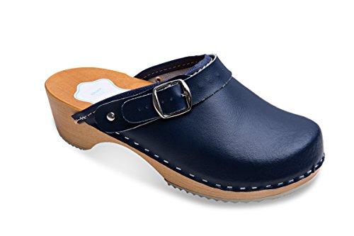 FUTURO FASHION Women's Healthy Natural Genuine Leather Wooden Sole Plain Clogs Unisex Colours Sizes 3-8 UK