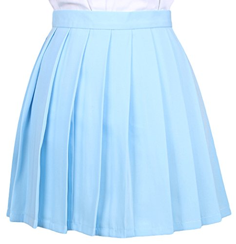 La vogue Mädchen Damen A-Linie Schule Uniform Rock Minirock, Blau2, Maße4(XL)