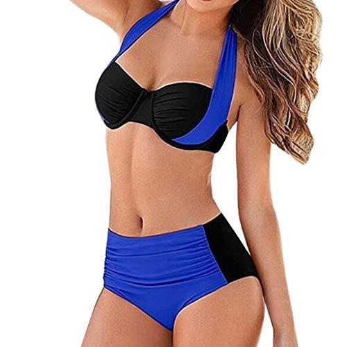 hmtitt Damen Bikini Set mit hoher Taille, Neckholder Badeanzug Bügel Gepolstert Push-up Split Sommer Badeanzug Bademode S-XXL