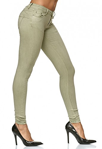 Donna Treggings spingere su pantaloni Denim Forma Effetto Skinny D2223 Hellgrün