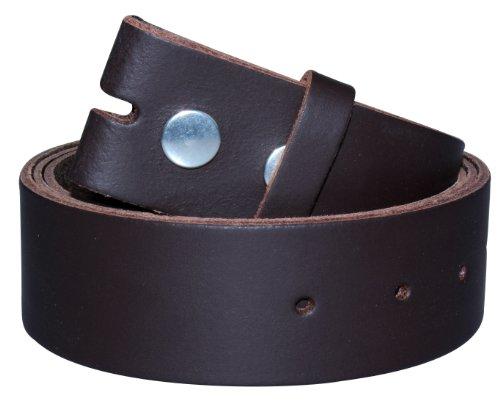 2Store24 Cinturón de cuero sin hebilla | Cinturón para hebillas en marrõn oscuro| Tamaño de la cintura: 105cm