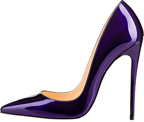 Calaier Damen Caover 12CM Stiletto Schlüpfen Pumps Schuhe Blau B