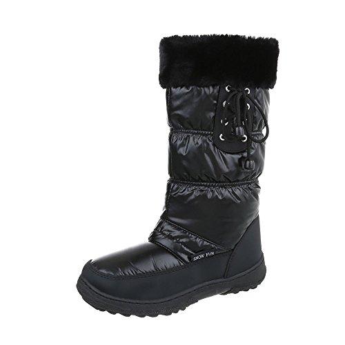 Ital-Design Klassische Stiefel Damenschuhe Klassischer Stiefel Warm Gefütterte Reißverschluss Stiefel Schwarz