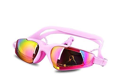 HL Lunettes De Plage Plaquées Grand Cadre Imperméable À L'Eau Lunettes De Baignade , Pink,pink