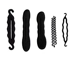 Homeoculture set of 5 different hair accessories French tool, magic puff small and large , Juda Maker, juda curler