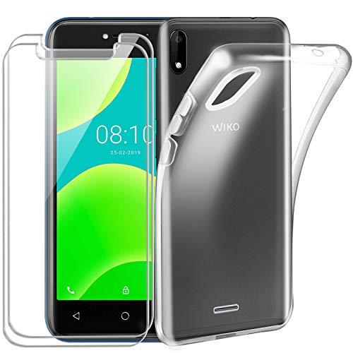 Reshias Coque Wiko Y50 Silicone Transparent [Antichoc] Souple TPU Housse Bumper Soft Case Cover pour Wiko Y50 avec (2 Pack) Verre trempé écran Protecteur