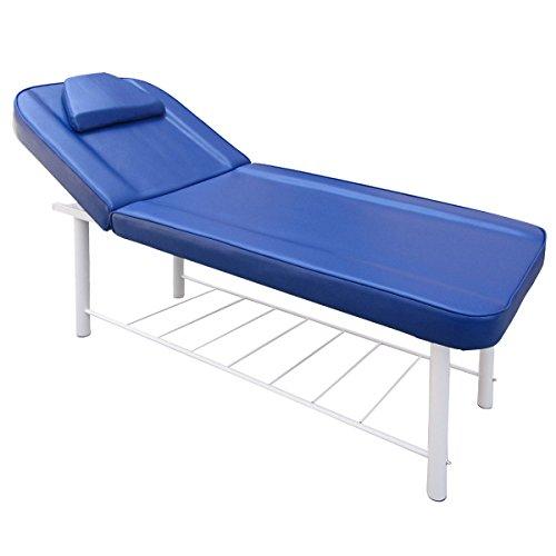 Preisvergleich Produktbild Behandlungsliege Verstellbare 2-Sektionen Massageliege Bis max. 250 KG belastbare Massagebank Kosmetikliege Dicke Polsterung Metallrahmen Weiß Blau