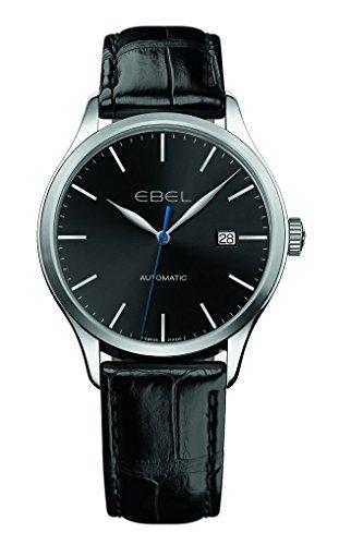 Ebel Classic 100automatique Cadran noir cuir noir montre pour homme
