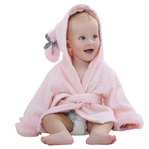YOUJIA kuscheliger Kapuzenhandtuch Baby Frottee Bademantel Mit Tiermotiven Rosa