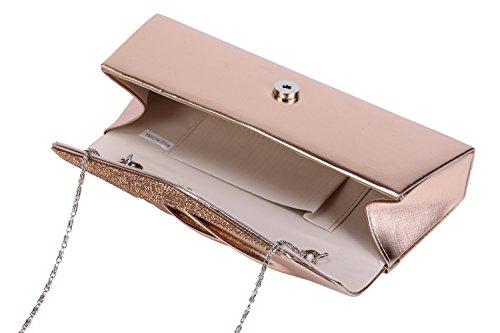 Damara® Damen Eleganz Schräg Kristalle Verzierte Handtasche Silber