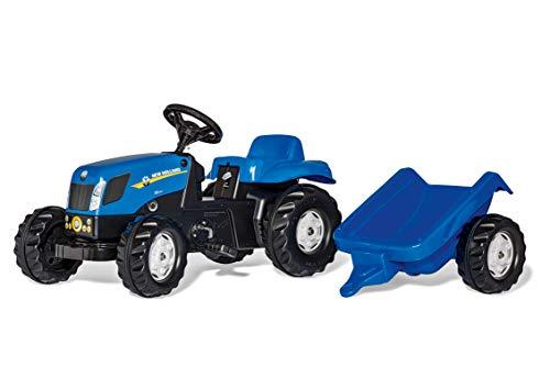 Rolly Toys rollyKid NH T7040 Trettraktor mit Anhänger (für Kinder von 2,5 bis 5 Jahren, Heckkupplung) 013074