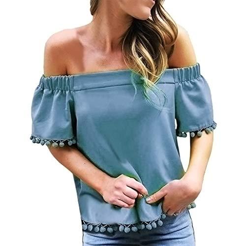 iHENGH Karnevalsaktion Damen Top Bluse Bequem Lässig Mode T-Shirt Frühling Sommer Blusen Frauen Short Sleeve Schulterfrei Solide Tassel T-Shirt Lässige Lose Top Bluse(Blau, XL)
