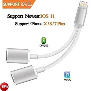 2 in 1 da Lightning a Dual Lightning Ports Adattatore Audio, Cuffie Audio Adattatore per iPhone 8/7/X Plus - Compatibile con 10.3/11 o versione successiva