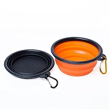 WoofWoof gamelle de voyage pliable en silicone pour chien et chat - 350ml(Orange et Noir)