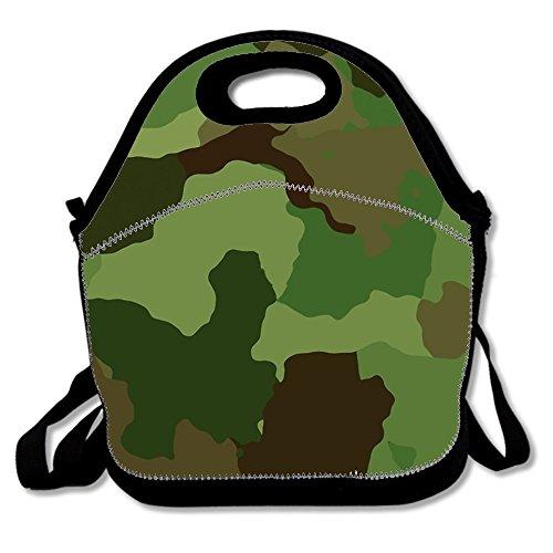 Camouflage Grün Armee Design Print Isolierte Lunch Tasche Lunchbox für Schule Arbeit one size Green Camouflage Army Design1 -