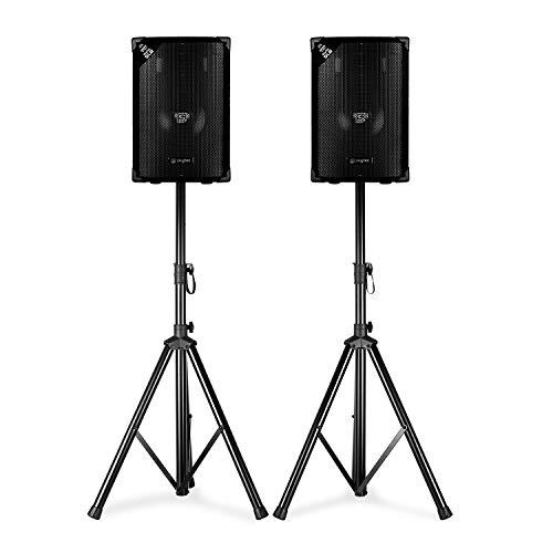 """Skytec SL8 Discoboxen-Paar mit Stativen • 2 Lautsprecher + 2 Stative • 8\"""" (20 cm) Woofer • Leistung: 200 Wmax / 400 w Spitze • 2-Wege-Bassreflex • Stative: Dreibein/klappbar/inkl. Tasche"""