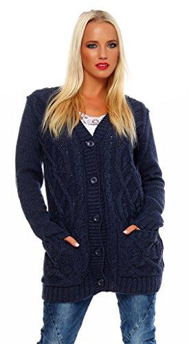 Mississhop 30-02 Damen Cardigan Jacke Strick Sweatshirt Pullover Strickjacke Überwurf Einheitsgröße Nachtblau - Union Armee Mantel Der