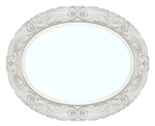 Oval Spiegel in Weiß oder Elfenbein patiniert für Schlafzimmer/Wohnzimmer/Flur, Spiegel oval aus Holz in lackierter Farbe, romantischer Spiegel mit geschmücktem Rahmen (Elfenbein Oval Spiegel)
