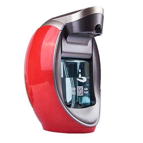 Distributeur intelligent de savon de mousse Distributeur de savon d'induction Désinfectant pour les mains Ensemble de bouteille Support mural Désinfectant pour les mains à double usage (rouge)