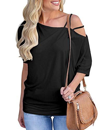 Abravo Mujer Camiseta Asimétrica de Mangas Cortas Blusa de Mangas de murciélago con Hombros Descubiertos sin Dibujo,Negro,L