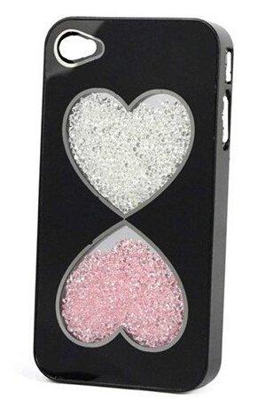yaobaistore superbe Étui à rabat style Swarovski Pierres Strass Diamant Bling main cristal Luxe Bumper Coque arrière rigide pour Apple iPhone 5iPhone 5S (Noir) Love Funnel