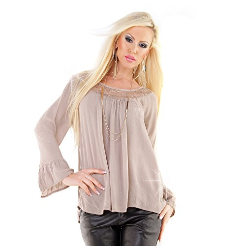 Damen oversize langarmt Shirt Bluse Tunika Hemd Chiffon mit Spitze Ausschnitt Beige