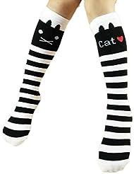 SMARTLADY - Calcetines hasta la rodilla gato lindos algodón medias para niñas