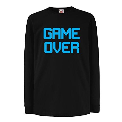 Kinder-T-Shirt mit langen Ärmeln Spiel über lustige Gamergeschenke (14-15 years Schwarz Blau)