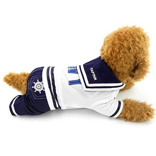 selmai Navy Sailor Captain Kostüm vierbeinigen Hund Jumpsuits, für kleine Hunde/Katzen