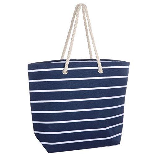 00004e57c27 Frauen Umhängetasche für den Strand aus Leinen Sommer Urlaub Stoffbeutel  Shopping Wiederverwendbar Handtasche Gestreift / Marineblau