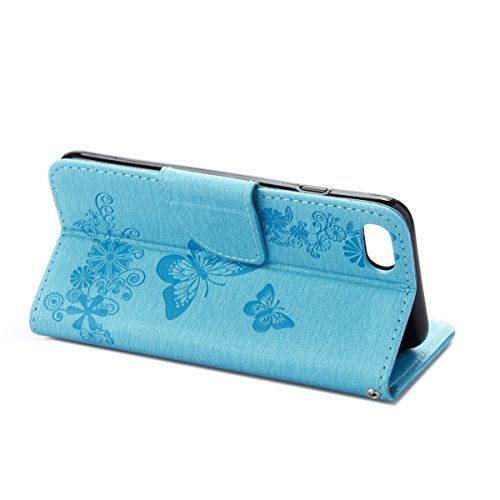 Custodia per Apple iPhone 7, ISAKEN iPhone 7 Flip Cover con Strap, Elegante Sbalzato Embossed Design in Pelle Sintetica Ecopelle PU Case Cover Protettiva Flip Portafoglio Case Cover Protezione Caso co Farfalla: blu
