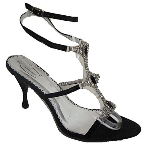 CASANDRA Jeweled-Sandali da donna con cinturino alla caviglia, colore: nero, Nero (nero), 40