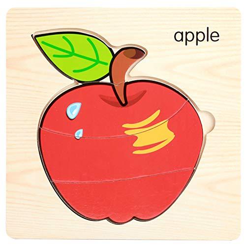 0Miaxudh Puzzle Bord Spielzeug, Holz Obst Gemüse 3D Puzzles, quadratische Bord, Kinder pädagogisches Spielzeug Apple